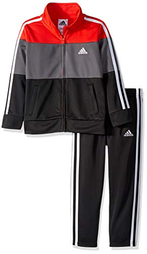 adidas Boys' Little Tricot Jacket and Pant Set, Block ADI red, 6