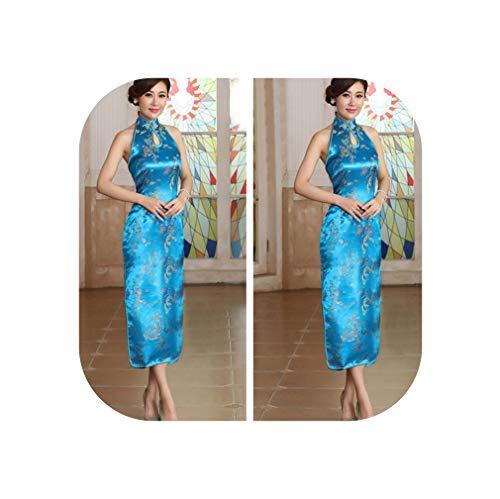 Pink Chinese Charming Halter Cheongsam Ladies' Mujer Long Qipao Backless Costume Dress Size M L XL XXL XXXL,Light Blue,M