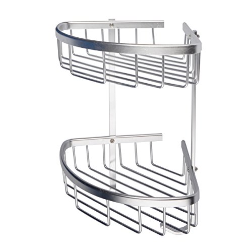 Aluminum Brushed Shelf - Saim Bathroom Corner Shelves, Aluminum 2-Tier Corner Shelves - Wall Mount Shower Racks Shelves - Bathroom Wall Triangular Rack Storage Organizer Holder with 2 Hooks for Towels, Shampoo Accessories