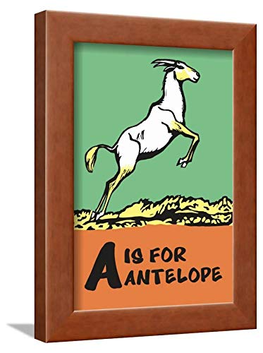 ArtEdge A is for Antelope by Charles Buckles Falls, Wall Art Framed Print, 12x9, Brown Unmatted