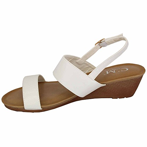 Open Toe Heel Da Sandals Fibbia Ladies Wedge On Slip 39924 Bianco Moda Mcm Sposa Womens Scarpe an0CqYw