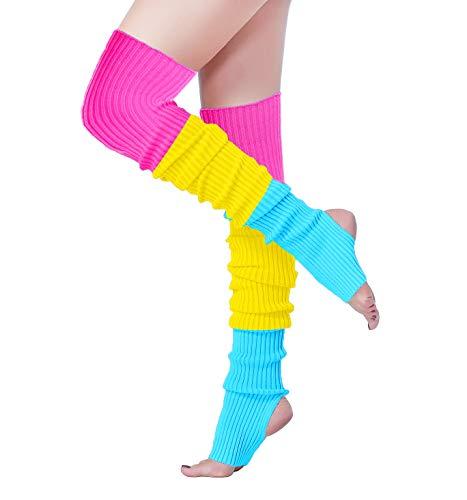 Long Leg Warmer, V28 Women's Men 80s Party Ribbed Knit Dance Sports, (81-mix3B) -
