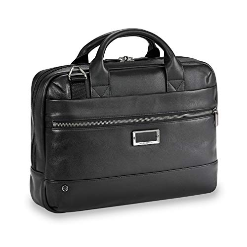 Briggs & Riley Leather Medium Brief Briefcase, Black, One Size