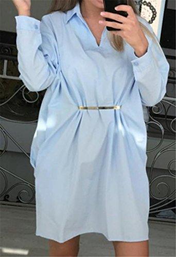 Di Cromoncent Lunga Manica Accetta Oversize Vita Medio Colore Allentato lungo Blu Donne Vestito Pura xgYa1Ugw