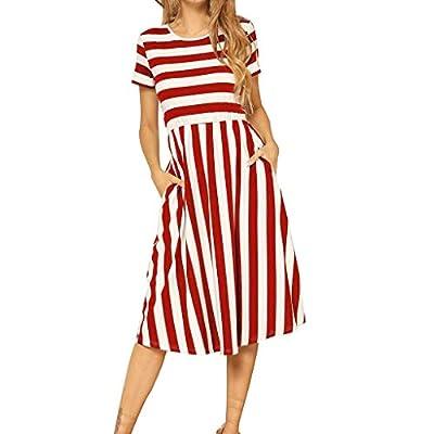 JustWin Women's Striped Print Pocket Dress Fashion Short Sleeve Casual Swing Midi Dress O-Neck Vintage A-Line Party Dress
