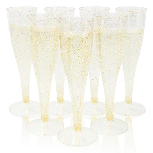 Plastic Champagne Flutes - 100-Pack 4.4oz Gold Glitter Disposable Champagne Glasses, Gold Plastic Flutes for Wedding, Bachelorette Party, Bridal Shower, Birthday Party Supplies, 4.4 Ounces