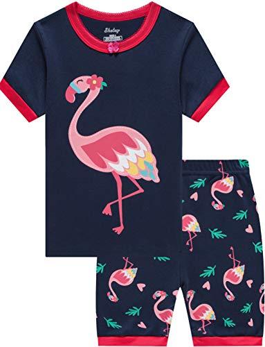 - Girls Pajamas Summer Kids Flamingo Cotton Short Pjs Set Toddler Baby Clothes 7t