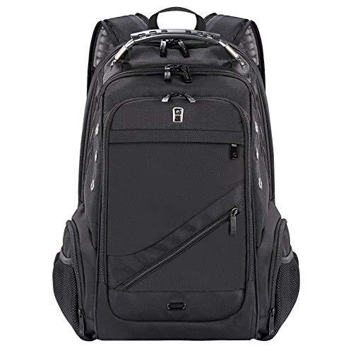 Laptop Backpack,School College Bag,Travel Business Anti Theft Lightweight Computer Bookbag with USB Charging Port& Earphone Jack,Waterproof Fits 15.6 Inch Black for Boys Men & Women