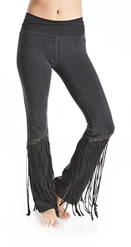 T-Party Women's Studded Fringe Leg Mineral Wash Yoga Pants (Small, (Studded Dark Wash)