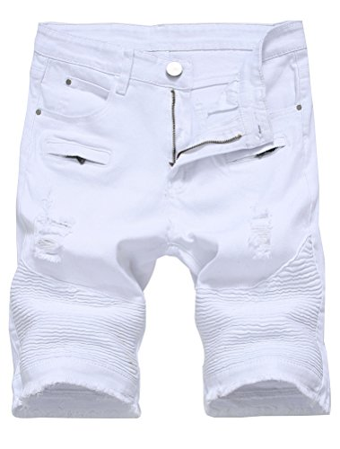 Lavnis Men's Casual Denim Shorts Classic Fit Ripped Distressed Summer Jeans Shorts White ()