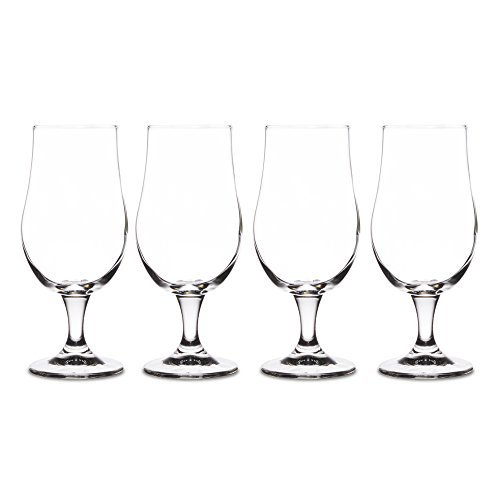 - Footed Beer Glass 13.5 oz. (4-Pack w/ bottle opener & coasters)