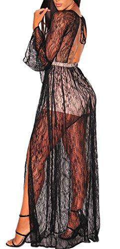 elegante Nero pizzo a lungo da sexy Abito schiena vestito donna sera scollo seminuda goccia MYWY qTERw6Ax