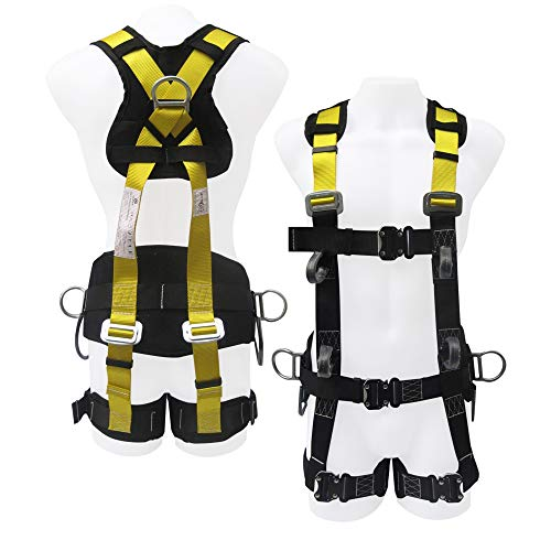 Fall Safe Harness - Commando Fall Protect Full-Body Safety Harness with Lanyard (ANSI and OSHA Compliant)