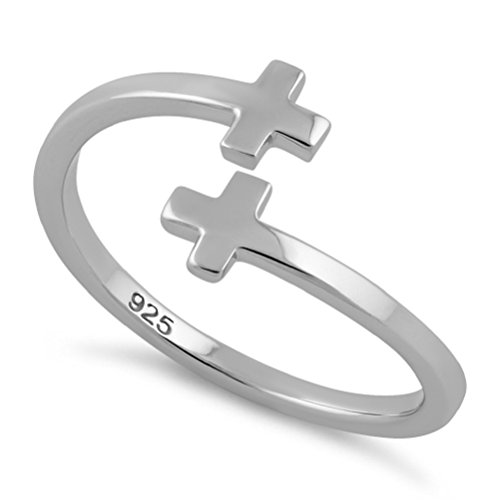 (Heartbeat Sterling Silver BEGINNG to The END Greek Cross Bypass Paddle Ring-(Size 3,4,5,6,7,8,9,10,11,12,13) (13))