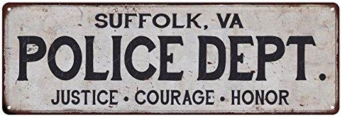 SUFFOLK, VA POLICE DEPT. Vintage Look Metal Sign Chic Decor Retro ()