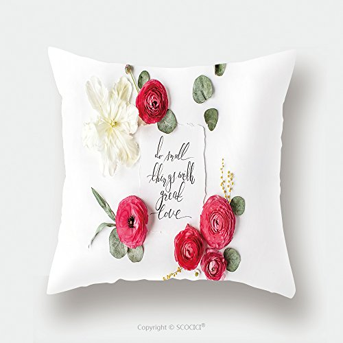 Custom Satin Pillowcase Protector Quote Do Small Things With Great Love Written In Calligraphic Style On Paper With Pink Red Roses 563728045 Pillow Case Covers Decorative by chaoran