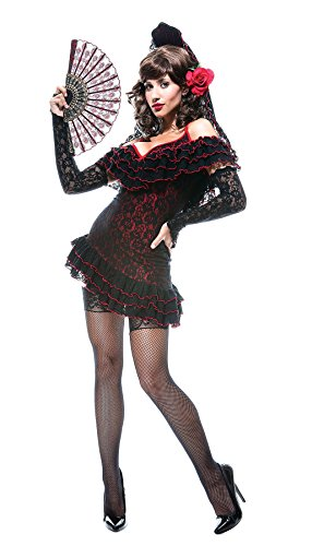 GTH Women's Historic Sexy Flamenco Lady Of Spain French Kiss Fancy Costume, XS (Plus Size Flamenco Costume)