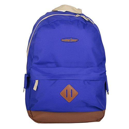 Kultiger Heritage Backpack, Rucksack im Retro-Stil für Schule, Uni oder Freizeit - Royal Blau - Goodman Design ®