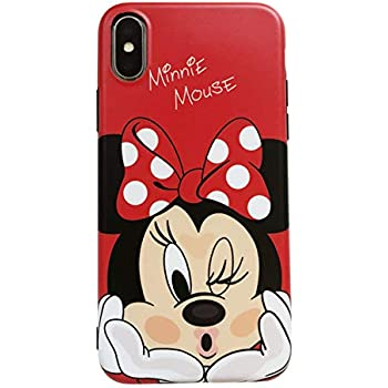 Ultra Slim Soft TPU Red Minnie Mouse Case for iPhone X XS Sleek Light Polka Dots Bow Shockproof Protective Disney Cartoon Cute Chic Lovely Cool Simple ...
