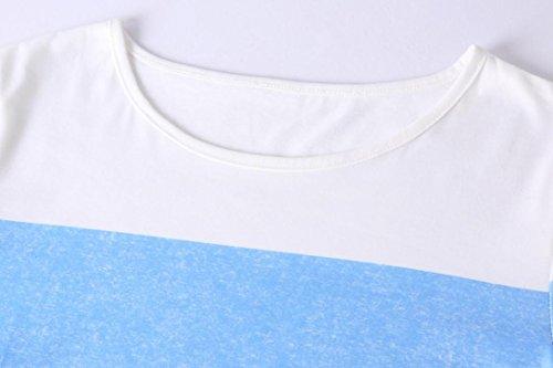 Taille T Chemise Grande Bureau Simple Haut de Shirt sans Rayures Dcontracte Mode Overmal O Bustier Manches Femmes Bleu Splice t Bretelle Top Vintage Slim Courtes Sexy Neck Blouse wvxFTEq