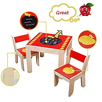 labebe Wooden Activity Table Wooden Dining Table//Wooden Play Table//Toddler Play Table//Wooden Table Chair//Kid Activity Table//Kid Dining Table Seat Red Apple Child Table and Chair for 1-5 Years Old