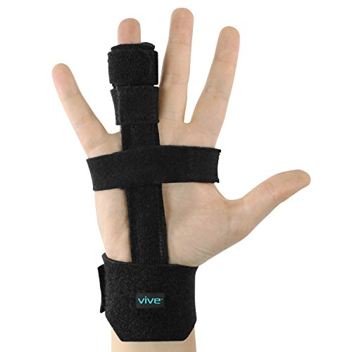 Vive Trigger Finger Splint - Full Hand and Wrist Brace Support - Adjustable Locking Straightener - Straightening Immobilizer Treatment for Sprains, Pain Relief, Mallet Injury, Arthritis, Tendonitis by VIVE