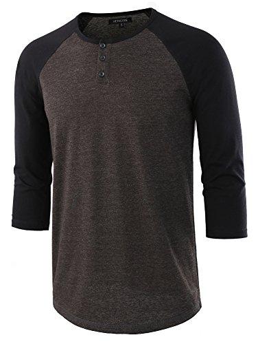 HETHCODE Men's Casual Raglan Fit Soft Baseball 3/4 Sleeve Henley T-Shirts Tee H.Charcoal/Black L