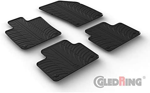 Gledring 0395 Rubber car mats Set Volvo V60 II 2018- Black T Profile 4-Pieces + mounting Clips