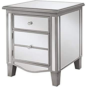 Genial Convenience Concepts Gold Coast Collection Park Lane Mirrored End Table,  Silver