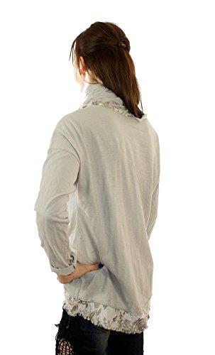 Italia Moda - Camisas - Asimétrico - Básico - Sin cuello - manga 3/4 - para mujer gris