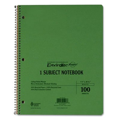 Earthwise By Oxford Wirelock Subject Notebook, College/Med Rule, 8-1/2 X 11, We, 100 Sheets [Set of 2] B00T1P4D5S