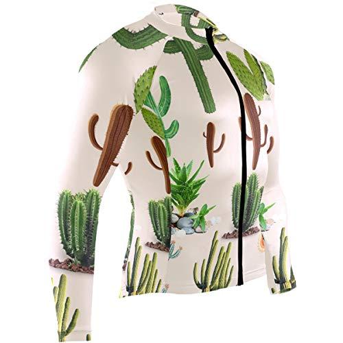 Cindly Arizona Saguaro Cactus Men's Cycling Jersey Long Sleeve Bike Jacket Biking Bicycle Jersey Shirt