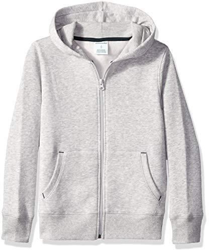 Amazon Essentials Boys' Fleece Zip-up Hoodie, Heather Grey, ()
