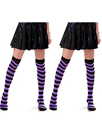 HDE Women's 2 Pack Opaque Two Tone Horizontal Striped Thigh High Stocking Socks (Black with Purple)