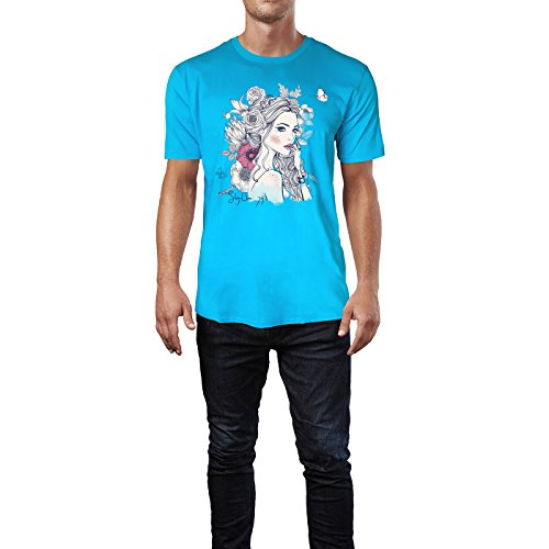 SINUS ART ® Portrait einer jungen Frau mit Blumen im Haar Herren T-Shirts in Karibik blau Cooles Fun Shirt mit tollen Aufdruck