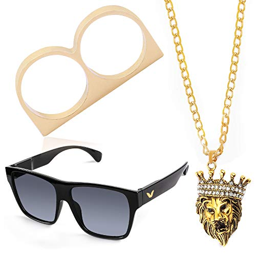 Beelittle 80s 90s Hip Hop Rapper Gangster Costume Kit - Retro Glasses Gold Chain Necklace Gold Plated Hip Hop Ring Accessories Kit (D) -
