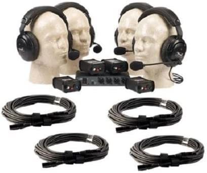 Anchor Audio COM-40FC C PortaCom Wired Intercom Package with Foam Insert Case, Includes BP-200 Belt Packs and Choice of H-200 or H-200S Headsets