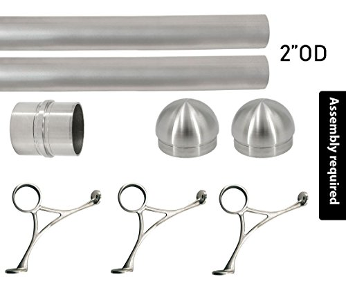 Top Hardware Bar Foot Rail Kit (Extra Long, Custom-made Item) - Brushed Stainless Steel Tubing (2 in OD, 8 ft Length) w/Internal Connector - Combination Foot Rail Brackets - Domed End Caps