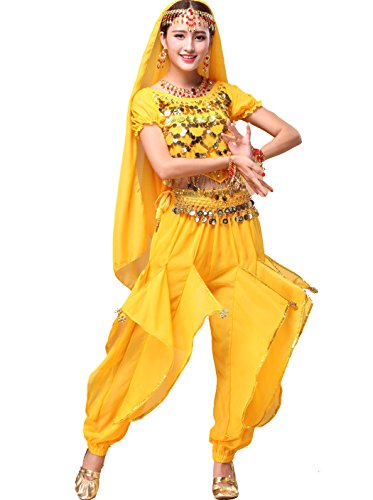 Astage Women`s Belly Dance Costume Set All Accessories Short Sleeve Top With Shells Yellow - Yellow Belly Dancer Costume