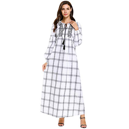 HYIRI Women's Noble Comfortable Abaya Islamic Muslim Middle Eastern Long Dress White ()