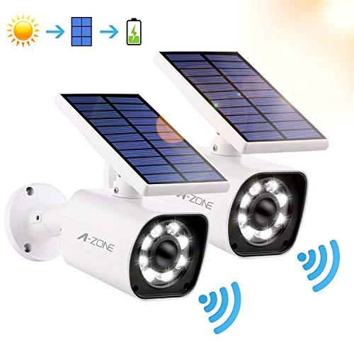 Solar Lights Outdoor Motion Sensor, 800-Lumen Bright 8 LED Spotlight 5Watt, Wireless Solar Flood Light Outdoor IP66 Waterproof, Solar Security Lights for Garden Driveway Patio, Pack of 2 (White)
