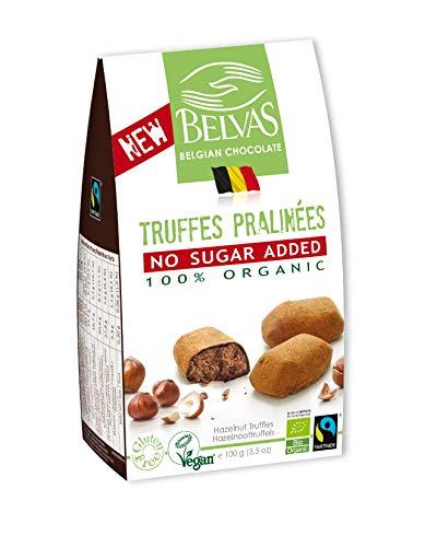 Belvas Hazelnut Praline Truffles - No Added Sugar Dark Chocolate 3.5 oz (1 Box)