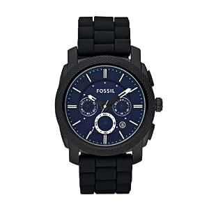Fossil Fs4605 - Reloj para hombres, correa de silicona color negro