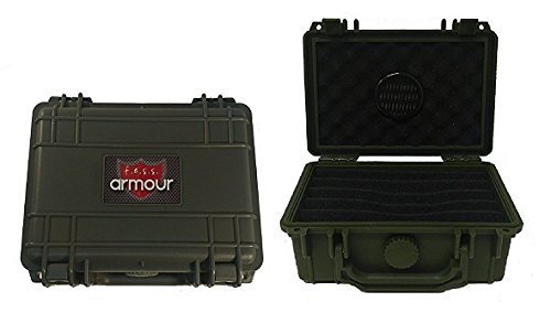 F.e.s.s. Armour Waterproof Crushproof Air tight Floats On Water Solid Green Travel Cigar Humidor Capacity 10-15 Cigars (Travel Humidor Plastic)
