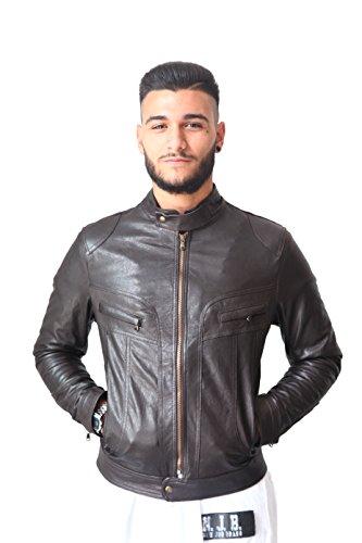 VIETRI LEATHER - Giubbino uomo vera pelle biker vintage marrone
