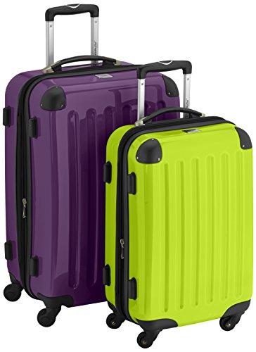 HAUPTSTADTKOFFER - Alex - 2er Koffer-Set Hartschale glänzend, 65 cm + 55 cm, 74 Liter + 42 Liter, Graphit-Blau Aubergine-apfelgrün