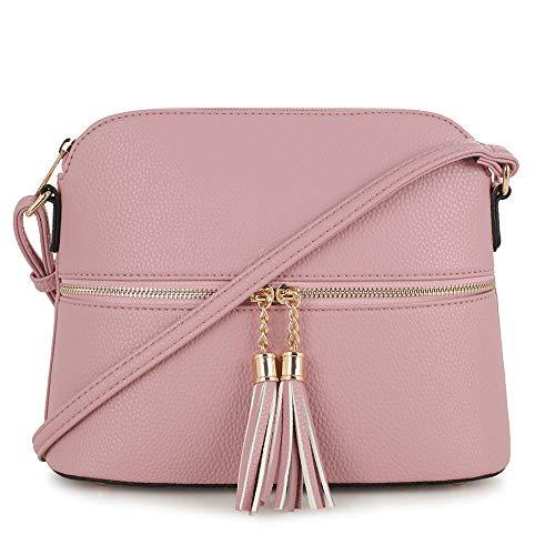 Purse Bag Pocket - SG SUGU Lightweight Medium Dome Crossbody Bag with Tassel | Zipper Pocket | Adjustable Strap (Mauve)