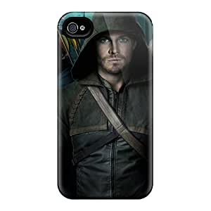 Rugged Skin Case Cover For Iphone 4/4s- Eco-friendly Packaging(green Arrow)