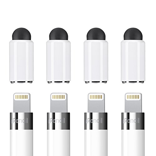 Zspeed [2 in 1] Magnetic Replacement Cap for Apple Pencil - Rubber Tips as Stylus Compatible with All Touch Screen Tablets/Cell Phones