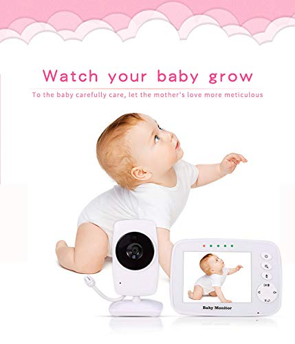 Baby Monitor, Video Baby Monitor Wireless Night Vision Dual View Video, Newborn Baby Monitor with Zoomable Night Vision Digital Color Camera, Two-Way Audio, Lullabies 3.2 inch